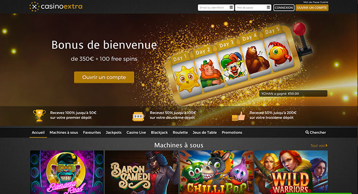 casino extra screen